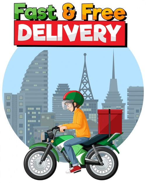 Logotipo de entrega rápida e grátis com homem de bicicleta ou mensageiro Vetor grátis