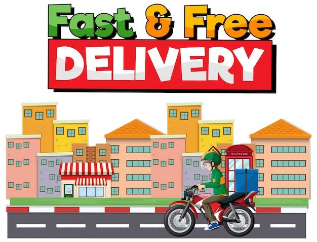 Logotipo de entrega rápida e gratuita com o homem da bicicleta ou mensageiro ri na cidade Vetor grátis