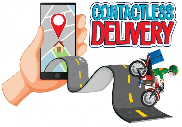 Logotipo de entrega sem contato com o homem da bicicleta ou entregador andando Vetor grátis