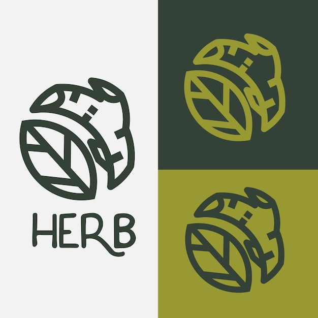 Logotipo de ervas. galho de árvore de folha e harbal - vetor Vetor Premium