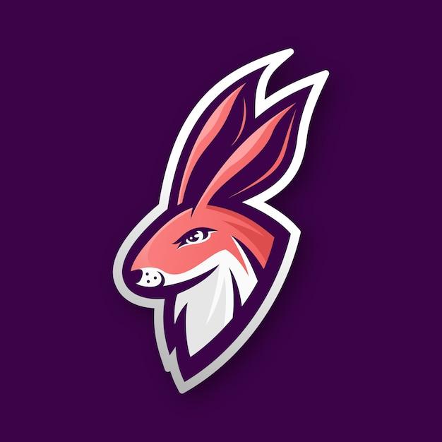 Logotipo de esporte de cabeça de coelho Vetor Premium