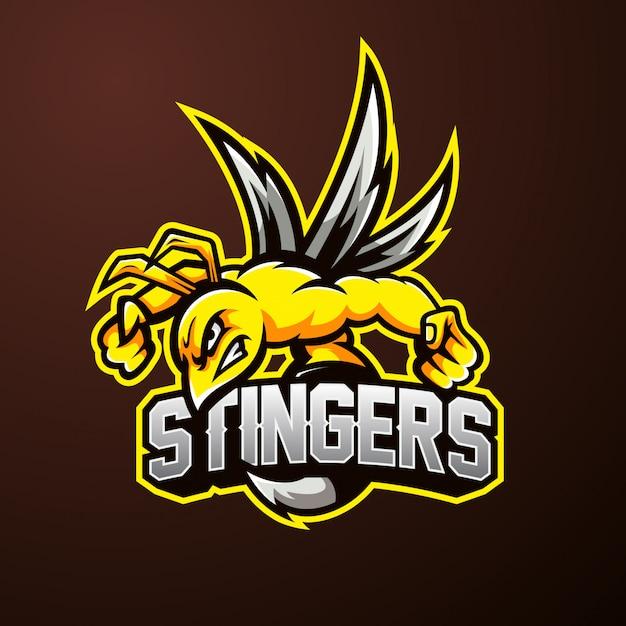 Logotipo de esporte de mascote de abelha Vetor Premium