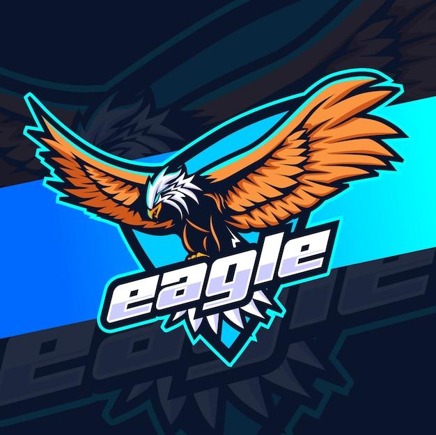 Logotipo de esporte de mascote de águia voadora Vetor Premium