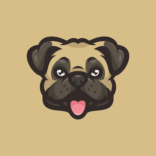 Logotipo de esportes da cabeça da mascote do cão do pug Vetor Premium
