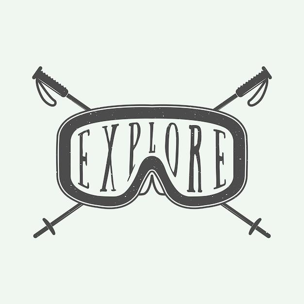 Logotipo de esportes de inverno Vetor Premium