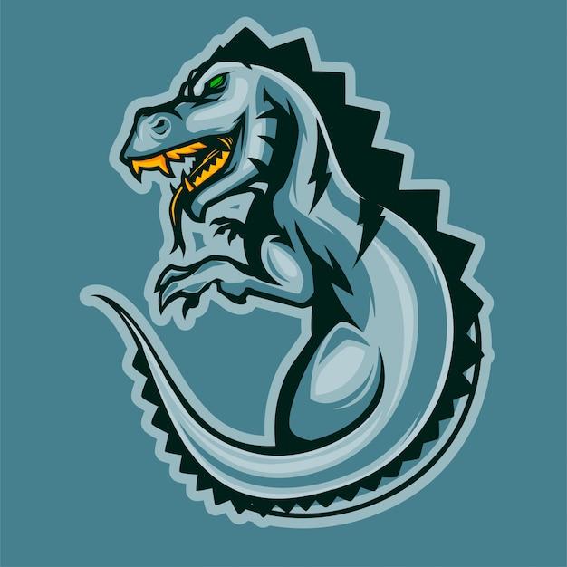 Logotipo de esports do dinossauro t-rex irritado Vetor Premium