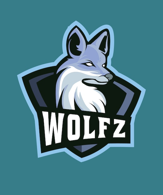 Logotipo de esports do lobo cinzento Vetor Premium