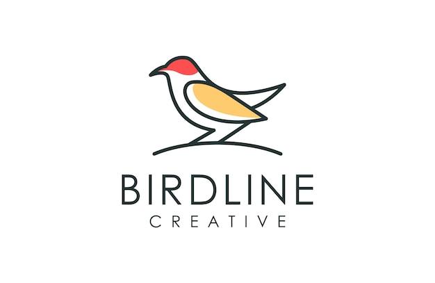 Logotipo de estilo de arte de linha pássaro Vetor Premium