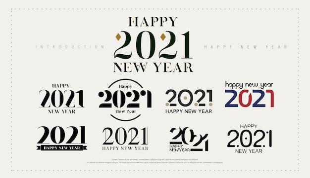 Logotipo de feliz ano novo. número comemorar para o modelo de logotipo. Vetor Premium