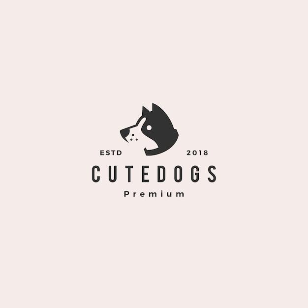 Logotipo de filhote de cachorro de cachorro fofo Vetor Premium