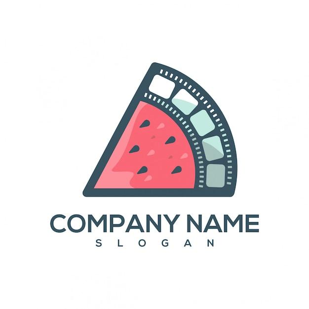 Logotipo de filme de melancia Vetor Premium