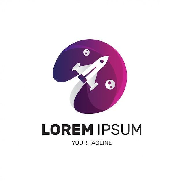 Logotipo de foguete para empresa de inicialização Vetor Premium