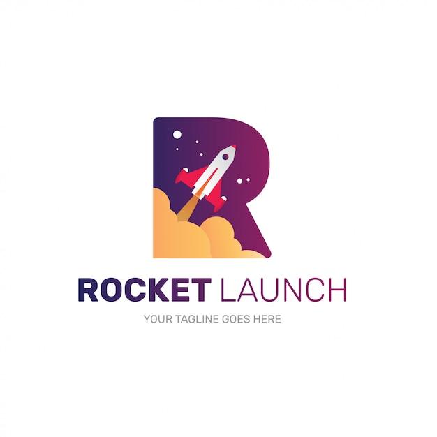 Logotipo de foguete para empresa iniciante, forma inicial r Vetor Premium