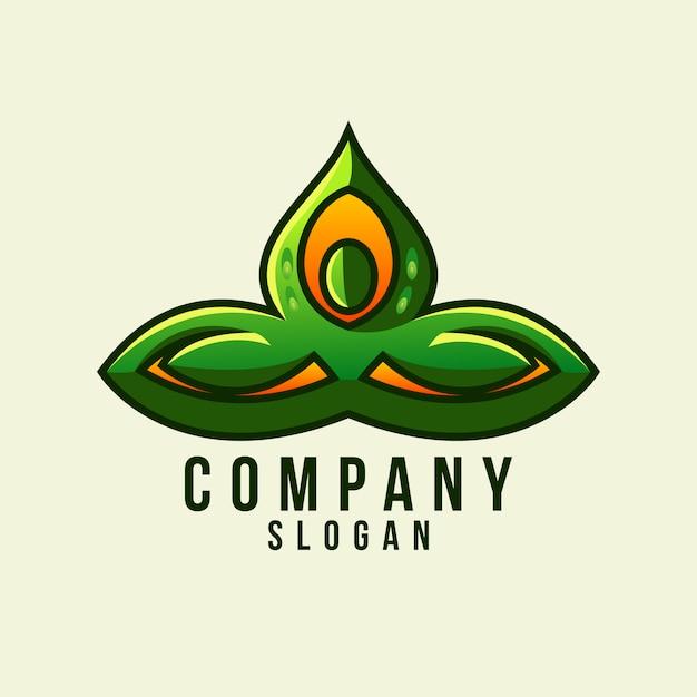 Logotipo de folha de ioga Vetor Premium