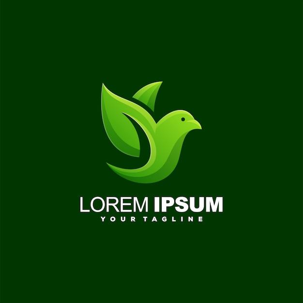 Logotipo de folha de pássaro impressionante Vetor Premium