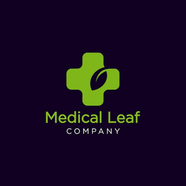 Logotipo de folha médica Vetor Premium