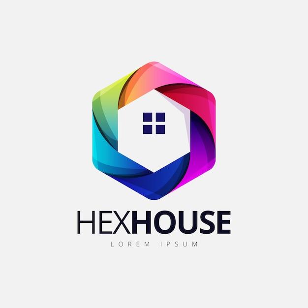 Logotipo de forma casa hexagonal colorido Vetor Premium
