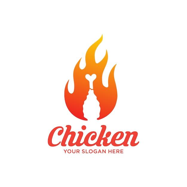 Logotipo de frango frito quente Vetor Premium
