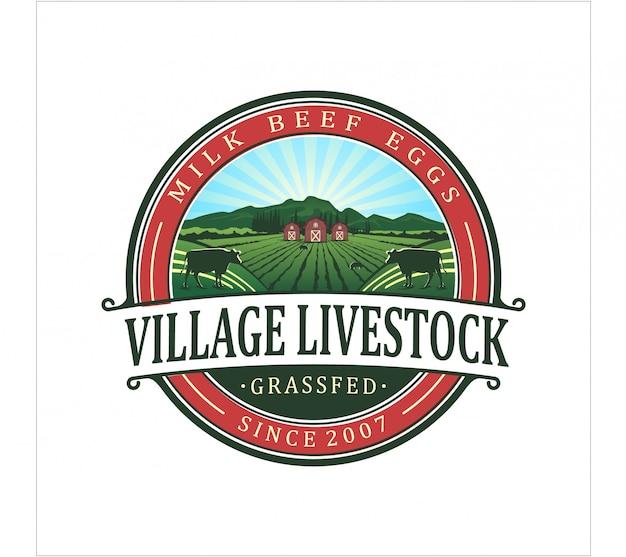 Logotipo de gado de aldeia Vetor Premium