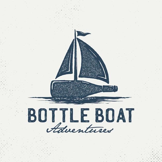 Logotipo de garrafas com veleiros Vetor Premium