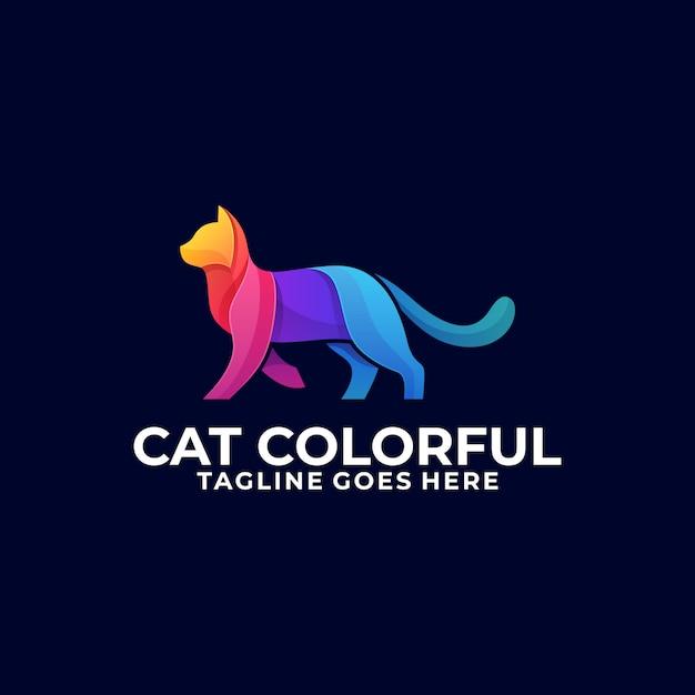 Logotipo de gato andando colorido design Vetor Premium