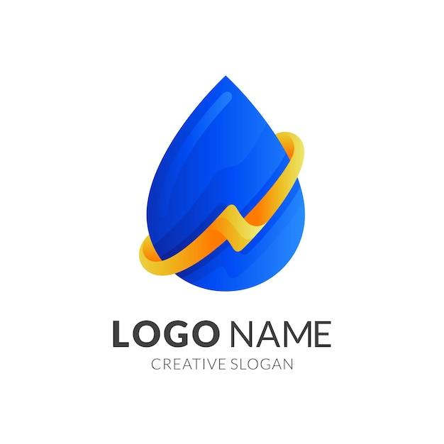 Logotipo de gota d'água com design de trovão Vetor Premium