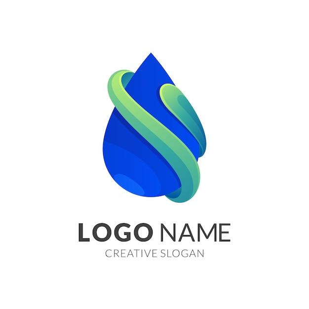 Logotipo de gota d'água, estilo moderno de logotipo em gradiente de cor verde e azul Vetor Premium
