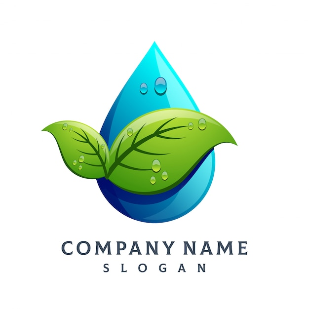 Logotipo de gota de água de folha Vetor Premium