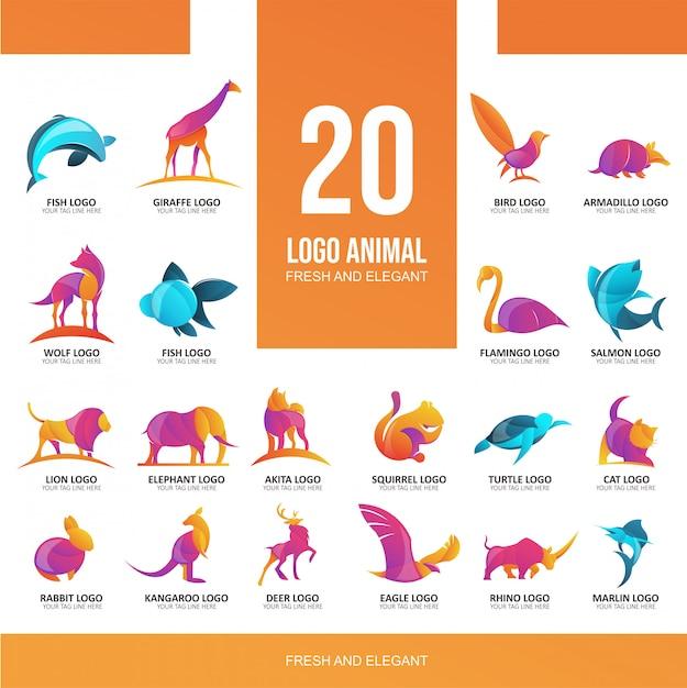 Logotipo de grade moderna círculo 20 animal para banner ou flyer Vetor Premium
