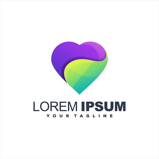 Logotipo de gradiente de coração impressionante Vetor Premium