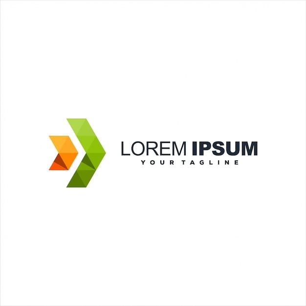 Logotipo de gradiente de seta impressionante Vetor Premium