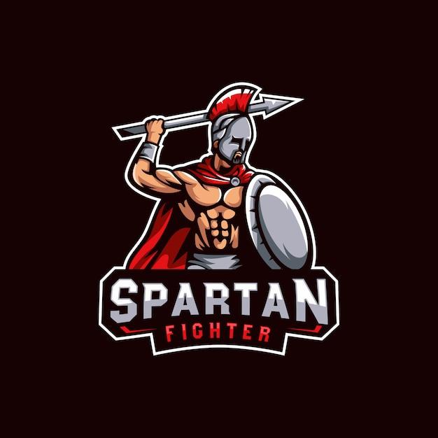 Logotipo de guerreiros espartanos, modelo de logotipo espartano lutador para jogos esportivos ou equipe Vetor Premium