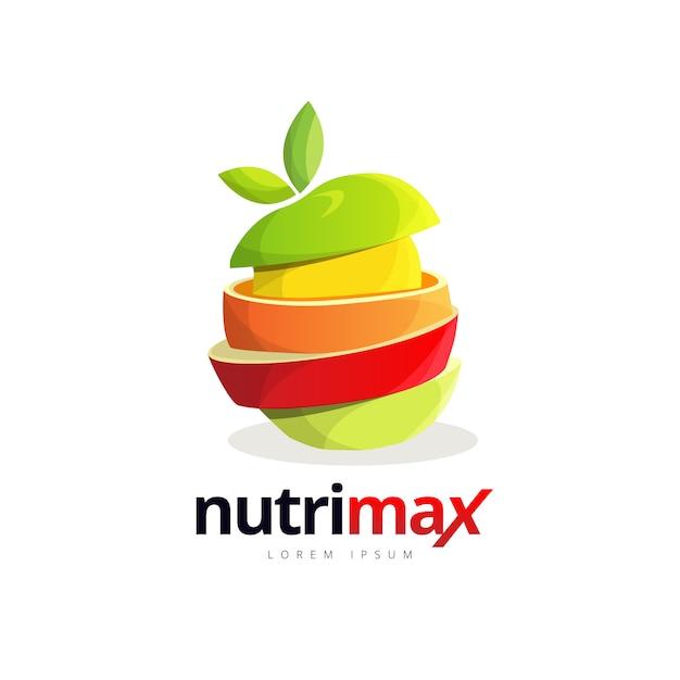 Logotipo de hambúrguer de fatia de fruta fresca Vetor Premium