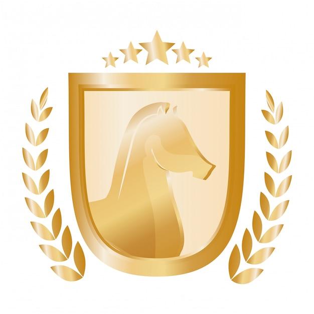 Logotipo de ícone de emblema de cavalo Vetor grátis