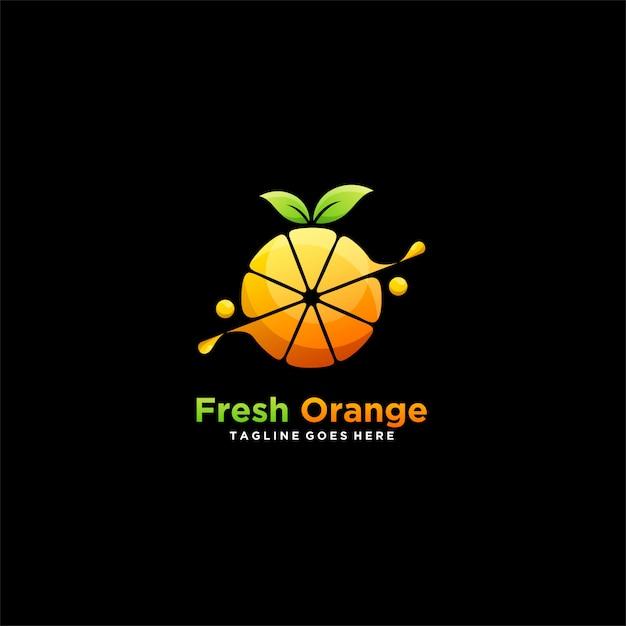 Logotipo de ilustração ícone laranja fresco Vetor Premium