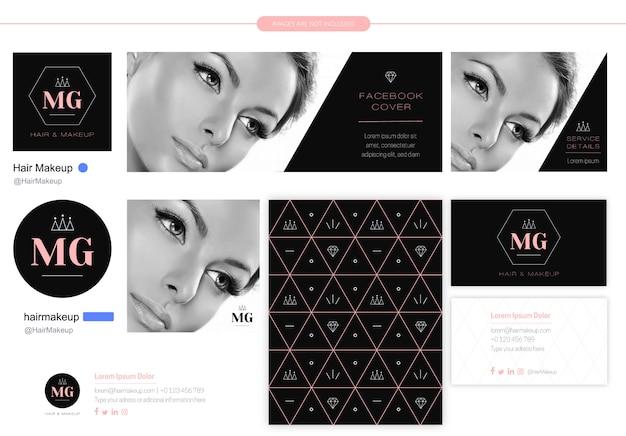 Logotipo de iniciais para empresa de beleza Vetor Premium