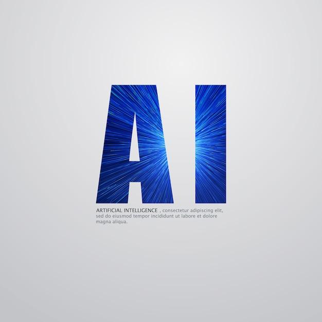Logotipo de inteligência artificial Vetor Premium