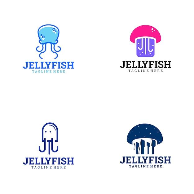 Logotipo de jelly fish Vetor Premium