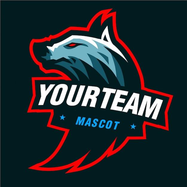 Logotipo de jogo de mascote de lobos azuis Vetor Premium