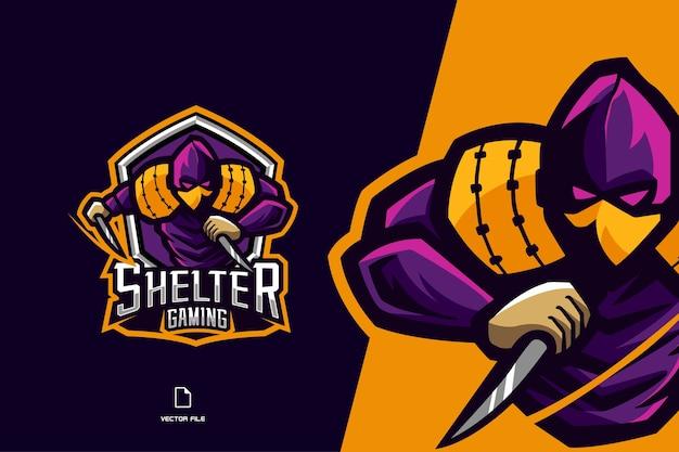 Logotipo de jogo de mascote ninja roxo para modelo de design de equipe esportiva e esport Vetor Premium