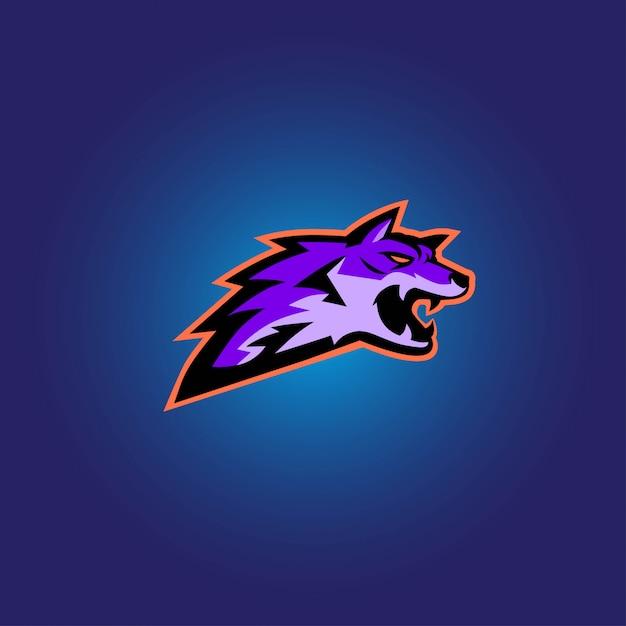 Logotipo de jogo lobo roxo esport Vetor Premium
