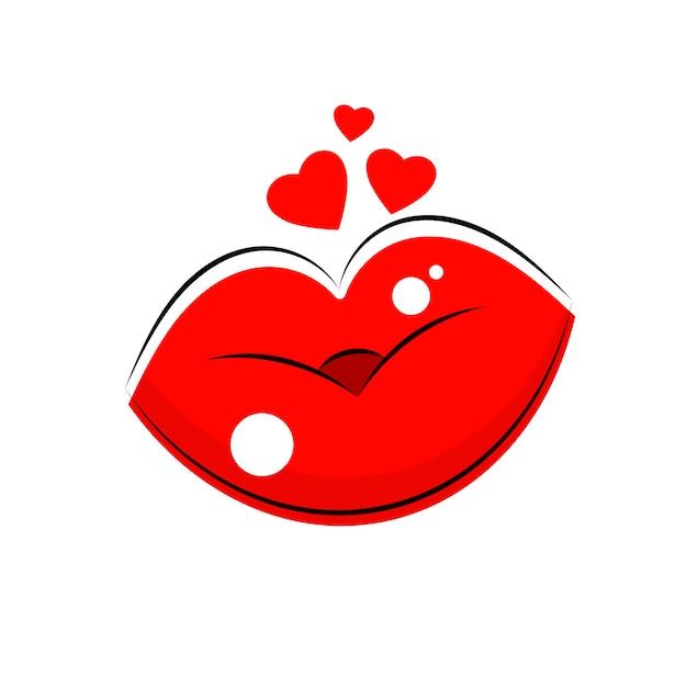 Logotipo de lábios femininos Vetor Premium