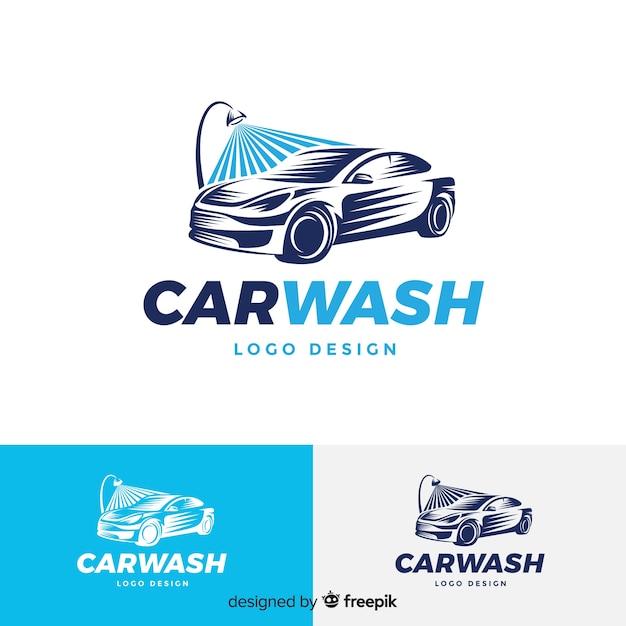 Logotipo de lavagem de carro liso azul Vetor Premium