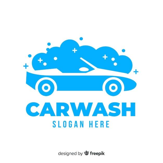 Logotipo de lavagem de carro liso azul Vetor grátis
