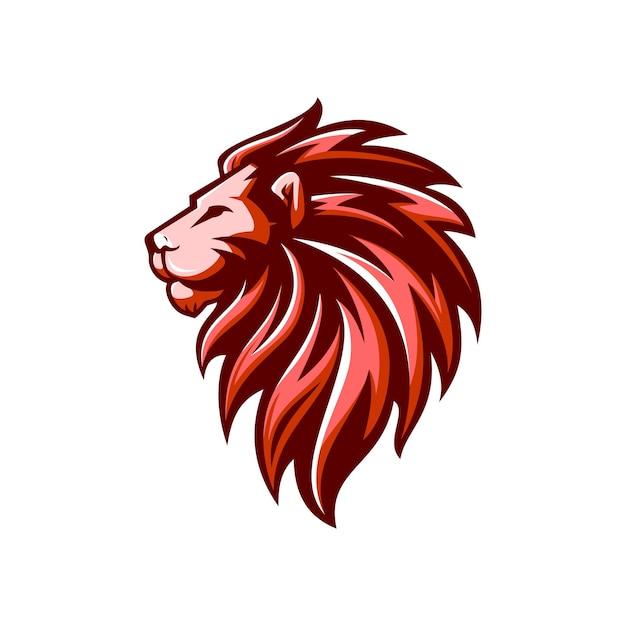 Logotipo de leão de luxo e e-sport Vetor Premium