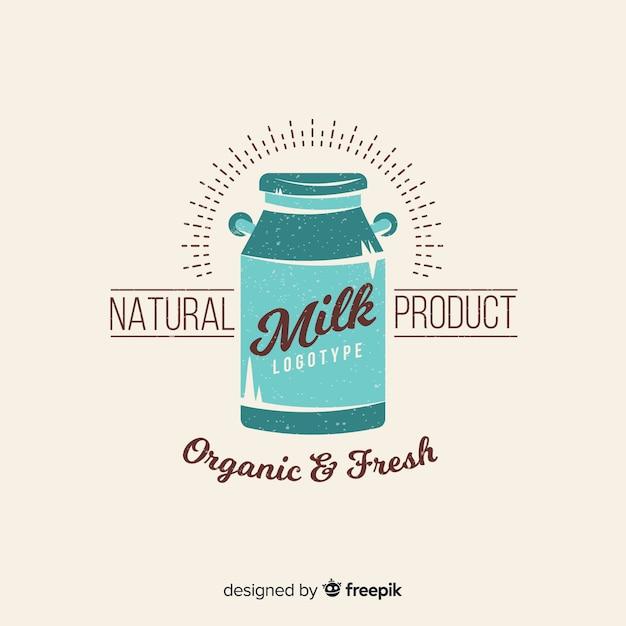Logotipo de leite orgânico de batedeira Vetor grátis