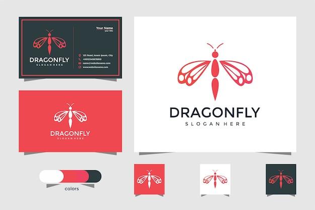 Logotipo de libélula elegante com cartão de visita Vetor Premium