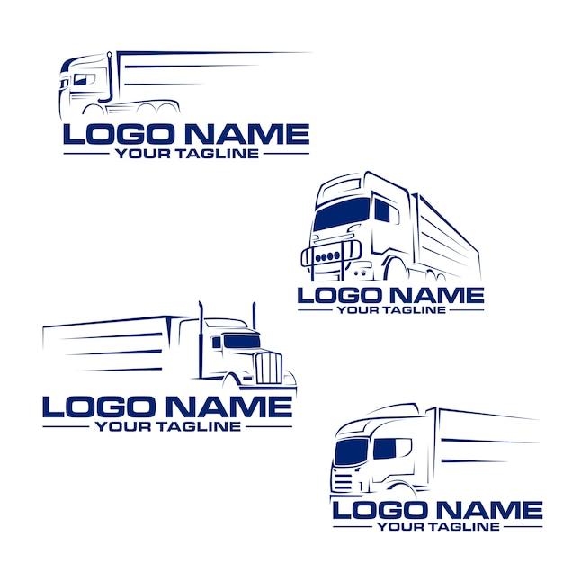 Logotipo de linha de caminhão semi Vetor Premium