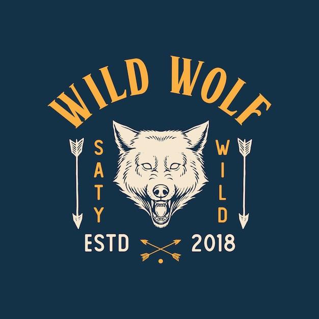 Logotipo de lobo selvagem Vetor Premium