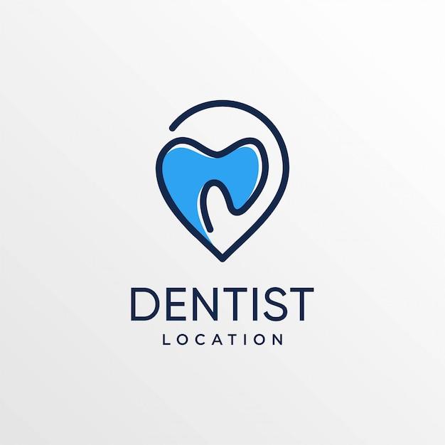 Logotipo de localização do dentista com estilo de arte de linha e modelo de design de cartão de visita, dentes, cuidados, localização, mapas, ponto, pino Vetor Premium